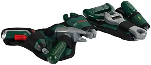 Theo Klein 8313 Bosch Werkzeuggürtel I Mit Hammer, Zange, Säge und vielen mehr I Mit batteriebetriebenem Ixolino II I Maße: 76 cm x 24 cm 4,5 cm I Spielzeug für Kinder ab 3 Jahren