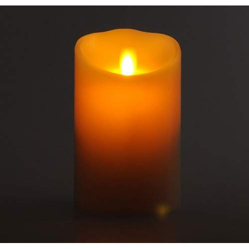 3.5''x7'' Flameless Luminara Candle -Remote Included- Real Wax & Real Flickering Candle Motion - Vanilla Scented, Ivory