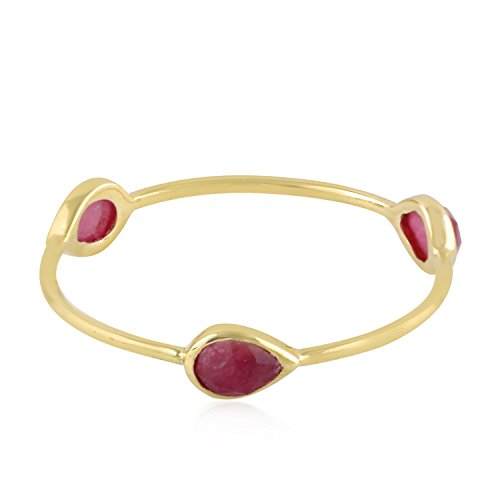 Mettlle 14K Yellow Gold Natural Ruby Three Stone Band Ring for Women Size 5 ()