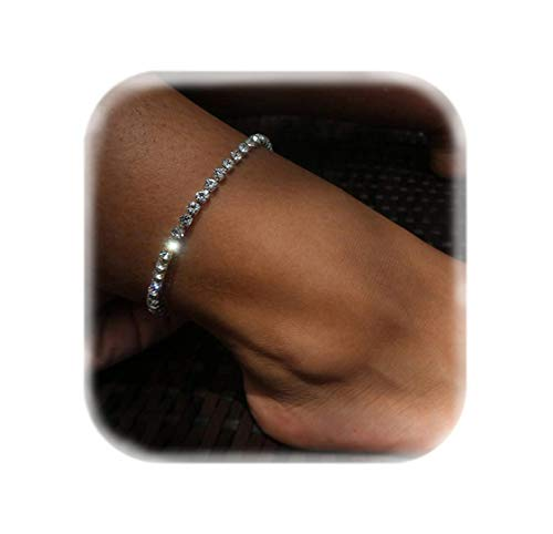 - Mooinn Crystal Anklet Sexy Rhinestone Stretch Anklets Tennis Ankle Elastic Bracelets for Women-1 Row