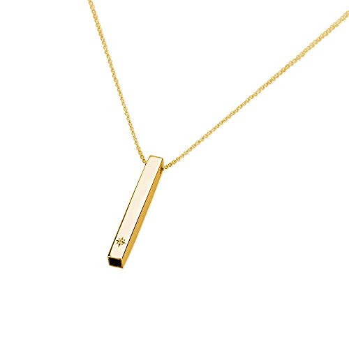 Bar Necklace Vertical Bar Pendant – Gold Plated Name Bar Pendant with Clear Stone