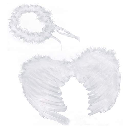 RUIZSH Angel Feather Wings and Halo Headband for Cosplay, Party Costumes, White]()