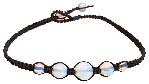 Infinity Opal Moonstone Anklet Bracelet Macrame Braided Woven Wax Cord Adjustable Anklet for Men, Women, teengirls -NYAKOP1
