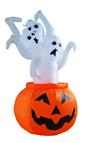 BIGJOYS 7 Ft Halloween Decoration Inflatable Ghost Escape from Pumpkin Decorations Inflatables Decor for Home Yard Lawn Garden Indoor Outdoor