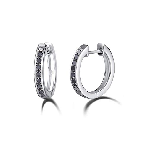 (Carleen White Gold Plated Sterling Silver Round Cubic Zirconia CZ Simulated Diamond Dainty Small Tiny Hinged Huggie Silver Hoop Earrings for Women Girls, Diameter 18mm)