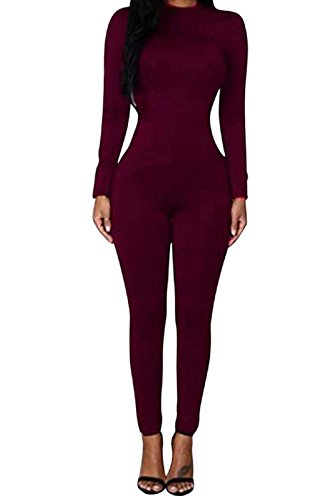 [VamJump Women Long Sleeve High Waist Bodycon Long Jumpsuits Rompers Burgundy] (Stretch Jumpsuit)