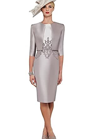 Newdeve Women Grey Short Formal Bridal Mother Dresses with
