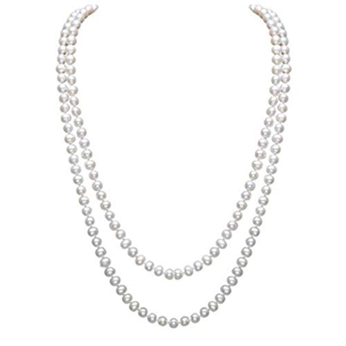 Gexo Art Deco Fashion Faux Long Pearl Necklace for Women Flapper Bead Multi Layer Statement - Deco Art Faux Pearl