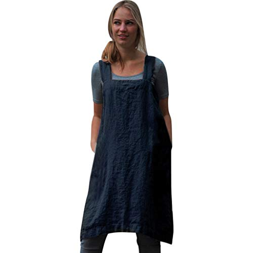 Womens Dresses Sleeveless Strap Sundress Plain Cotton Linen Pinafore Square Cross Apron Garden Work Pinafore Dress Blue