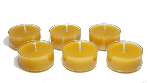 BCandle 100% Pure Raw Beeswax Tea Lights Candles Organic Hand Made (Pack of 6)