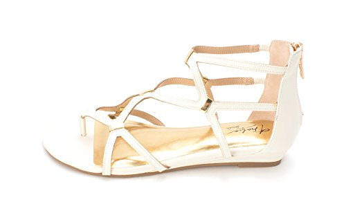Sodi Strappy Split Lizard Casual Sandals pamella White Toe Thalia Womens 4HUYdw4q