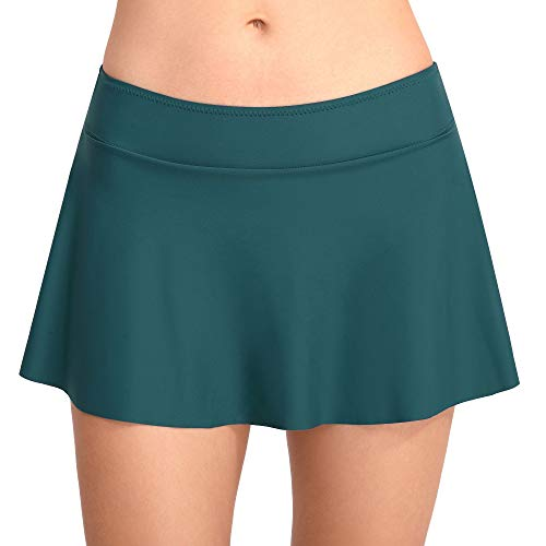Cherrydew Womens Swim Skirt Solid Build-in Brief Tummy Control Bikini Tankini Bottom(Green, Medium) ()