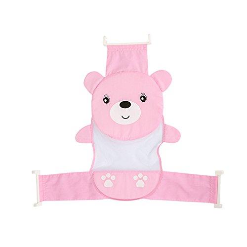 Unetox Baby Bath Tub Shower Seat Support Anti-Slip Soft Net Bathtub Bear Bather Sling Shower Mesh Bathing Cradle Cute Bear Bather (Pink)