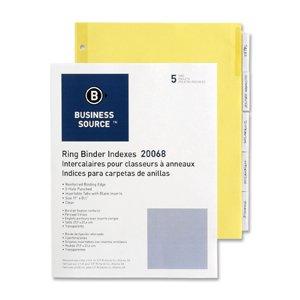"Business Source Ring Binder Index Divider,5 x Tab Blank - 5 Tab(s)/Set - 8.5"" x 11"" - 5 / Set - Buff"