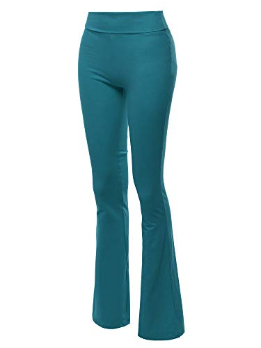 Made by Emma High Waist Stretch Workout Bootleg Lounge Yoga Pants Teal L