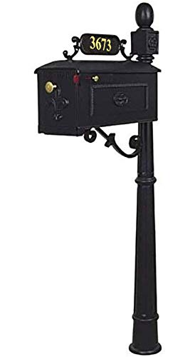 - Addresses of Distinction Williamsburg Mailbox & Post System Style 311 - Black Estate Mailbox with Fleur De Lis - Includes Address Plaque, Scroll & Mounting Hardware - Rust Free Cast Aluminum