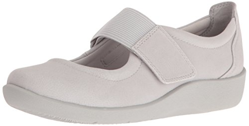 CLARKS Women's Sillian Cala Mary Jane Flat, Light Grey, 8 M US