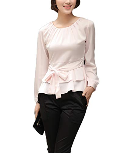 Thx Style Women's Casual Long Sleeve Tops Pleated Slim Round Neck Peplum Blouse (l, Pink) Turquoise Shell t Down Stretchable Best Butterfly Frilly Polyester Georgette Suit Colored