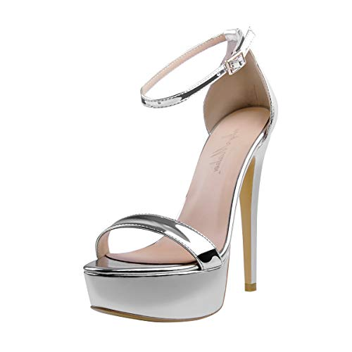 Onlymaker Women's Sexy Ankle Strap Open Toe Platform Stiletto Sandals Single Band High Heel Party Dress Shoes Sliver US6