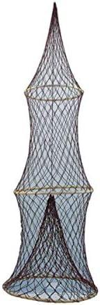 Maritime Deko- Fischreuse- braun- mit 3 Bambusringen 100 cm