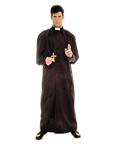 [Underwraps Men's Deluxe Priest, Black/White, One Size] (Priest Halloween Costume Deluxe)