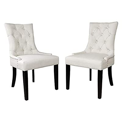 Dinner Chairs Upholstered Accent Fabric Dining Chair with Solid Wood Legs for Kitchen Living Room Set of 2