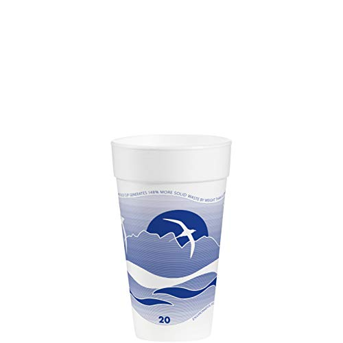Dart 20J16H Horizon Foam Cup, Hot/Cold, 20oz., Printed, Blueberry/White, 25 Per Bag (Case of 20 Bags) Dart Horizon Foam Cup