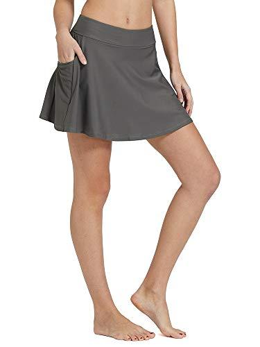 (Women's High Waisted Swim Skirt Bikini Tankini Bottom with Side Pocket Gray Size S)