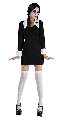 Extra Large Black & White Girls Creepy School Girl Costume