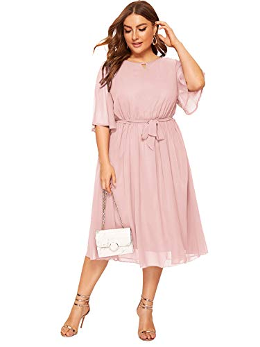 ROMWE Women's Plus Size Elegant Ruffle Sleeve Belted Mesh Cocktail Party Swing Midi Dress Pink 1XL