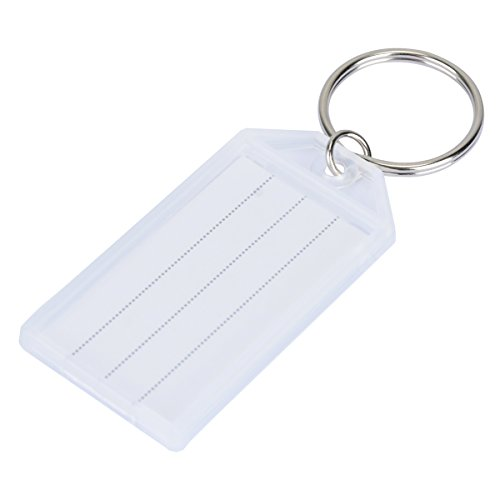 Uniclife 20 Pack Tough Plastic Key Tags with Split Ring Label Window, White