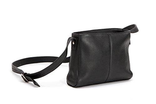 Le Donne Top Zip Crossbody Bag, Leather Handbag in Black
