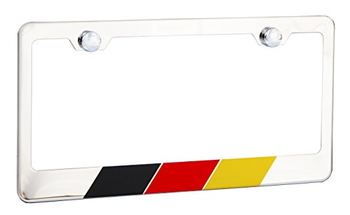 International Tie Germany, German Flag License Plate Frame, Chrome High Grade 304 Stainless Steel ...