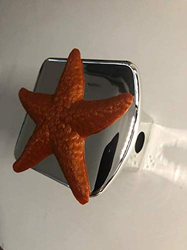 Stickysight.com Starfish Star Fish in 3D - Chrome with Orange - 2 inch Trailer Hitch Cover - Hawaii flip Flop Hawaiian Hibiscus Flower ()
