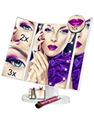 Vanity Makeup Mirror - Trifold Touch Screen 24 LED Lighted,1X/2X/3X/10X Magnification Cosmetic Mirror with 180° Free Rotation for Countertop Cosmetic Makeup