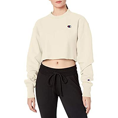 Champion LIFE Women's Reverse Weave Cropped Cut Off Crew, Chalk White, Small at Women's Clothing store