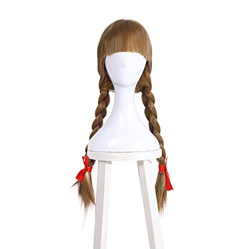 Women's Annabelle Role Play Costume Horror Scary Party White Dress for Girls Long Sleeve Red Rose Bow Tie Long Maxi Dress (one size, brown)