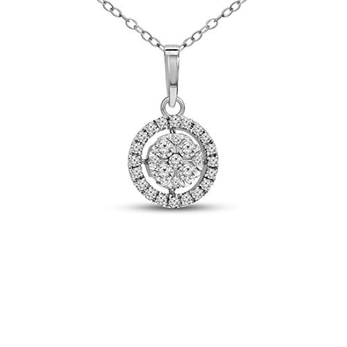 100% Real Diamond Pendant 0.24ct Diamond Pendant For Women I1-Clarity 10K White Gold Diamond Jewelry Gifts For Women (HI-Color) ()