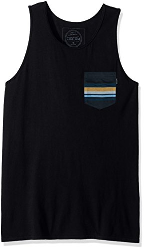 Rip Curl Men's Salut Custom Pkt Tank, Black, Medium (With Mens Tank Tops Pocket)