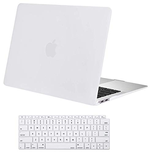 MOSISO MacBook Air 13 inch Case 2019 2018 Release A1932 with Retina Display, Plastic Hard Case Shell & Keyboard Cover Skin Only Compatible Newly MacBook Air 13 with Touch ID, White (White Mac Laptop Case)