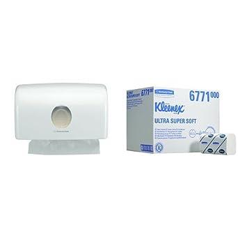 Aquarius 6956 Dispensador de toallas secamanos, tamaño pequeño, blanco y Kleenex 6771 Ultra Toallas