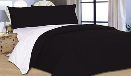 4PC COMPLETE REVERSIBLE BLACK / WHITE SINGLE DUVET COVER & FITTED SHEET BED SET by Viceroybedding
