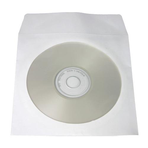 200 Pack - CD/DVD White Paper Sleeves with Clear Window - 80 Gram