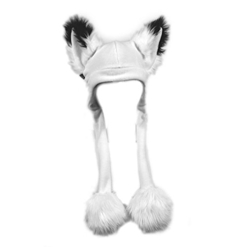 Pawstar Furry Fox Ears Squeaker Strap Hat - Arctic White ()