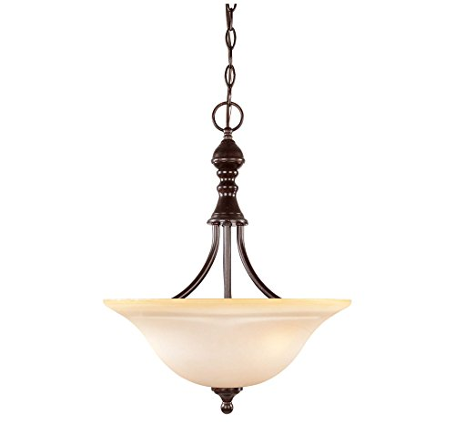 Savoy House 7-1708-3-13 Pendant with Cream Faux Marble Shades, English Bronze Finish