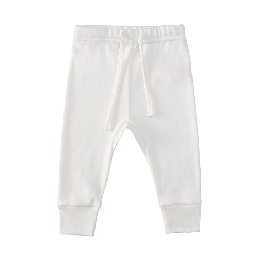 Owlivia Organic Cotton Baby Boy Girl Wiggle Pant Jogging Pant (Off-White, 6-12 (Baby Cotton Bottoms)