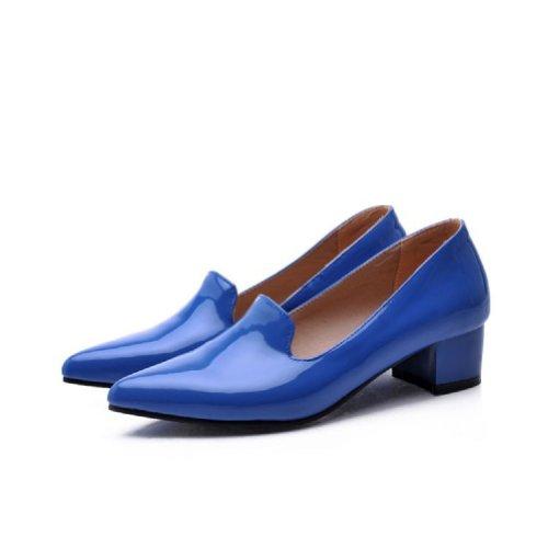 Scarpe Da Donna Con Tacco Medio, Scarpe Con Tacco Medio, Punta A Punta Blu