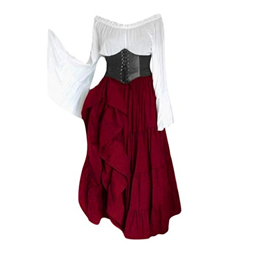 Sherostore ♡ Women's Renaissance Medieval Costumes Dress Trumpet Sleeves Gothic Retro Gown Victorian Costume Dress Wine