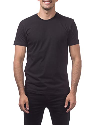 Pro Club Men's Premium Lightweight Ringspun Cotton Short Sleeve T-Shirt, Black, 4X-Large Tall
