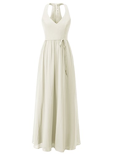 Belt Chiffon Bridesmaid Ivory ALAGIRLS Neck Womens Gowns Wedding with Party Dresses Long V PTBA6qw1